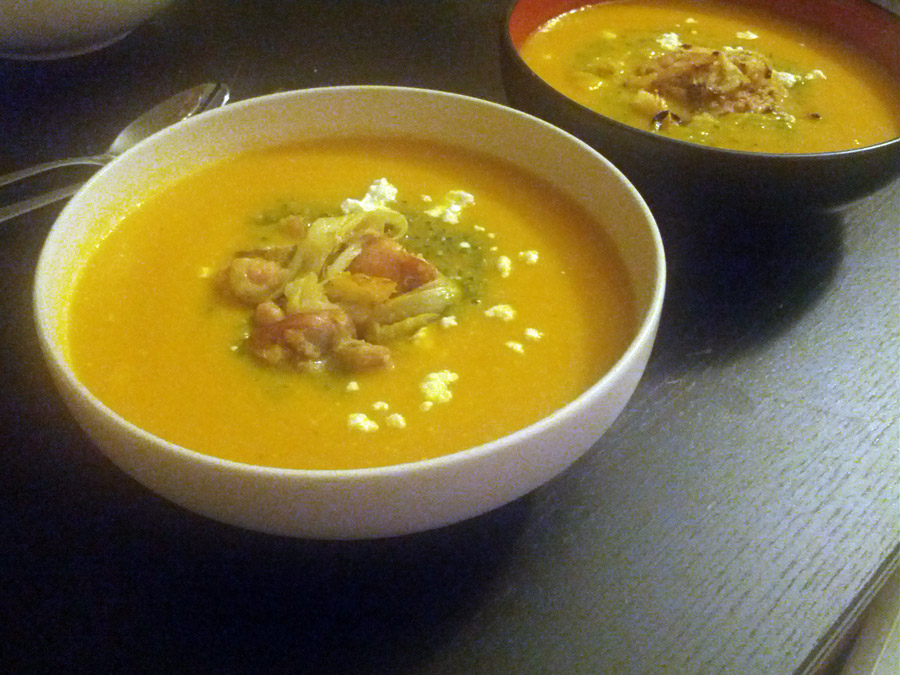 Summer Squash Soup with Mint Parsley Pistou, Goat Cheese, and Roasted Lemon Fennel Chicken