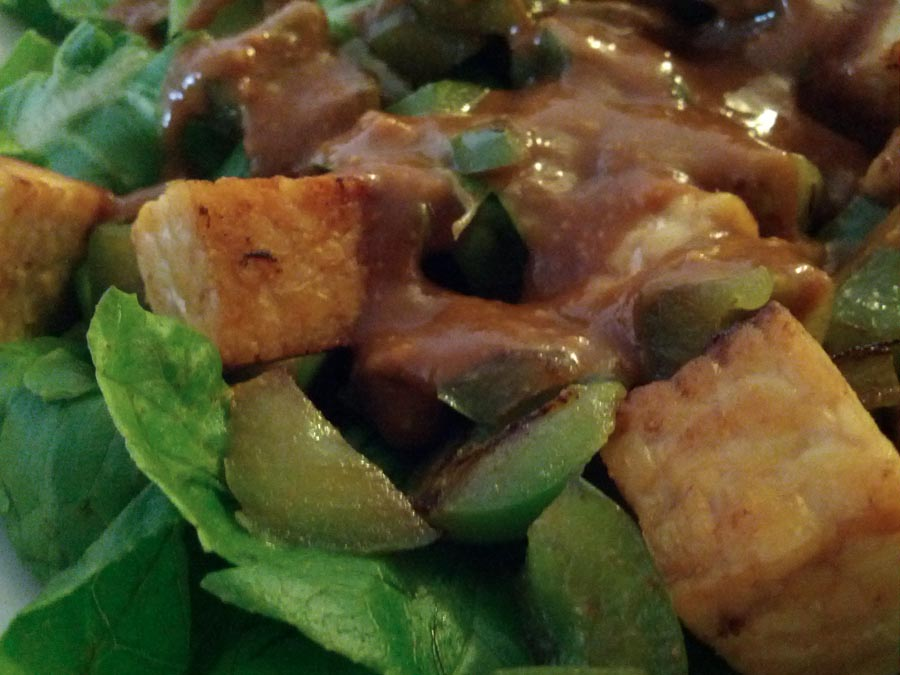 Simple Tempeh Stir-Fry Salad with Peanut-Ginger-Lime Sauce up close