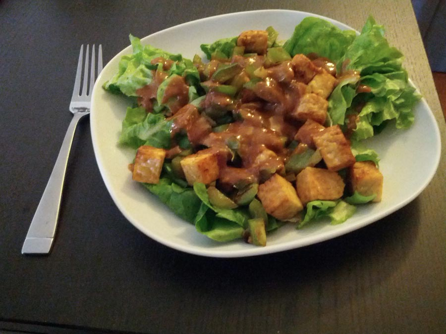 Simple Tempeh Stir-Fry Salad with Peanut-Ginger-Lime Sauce